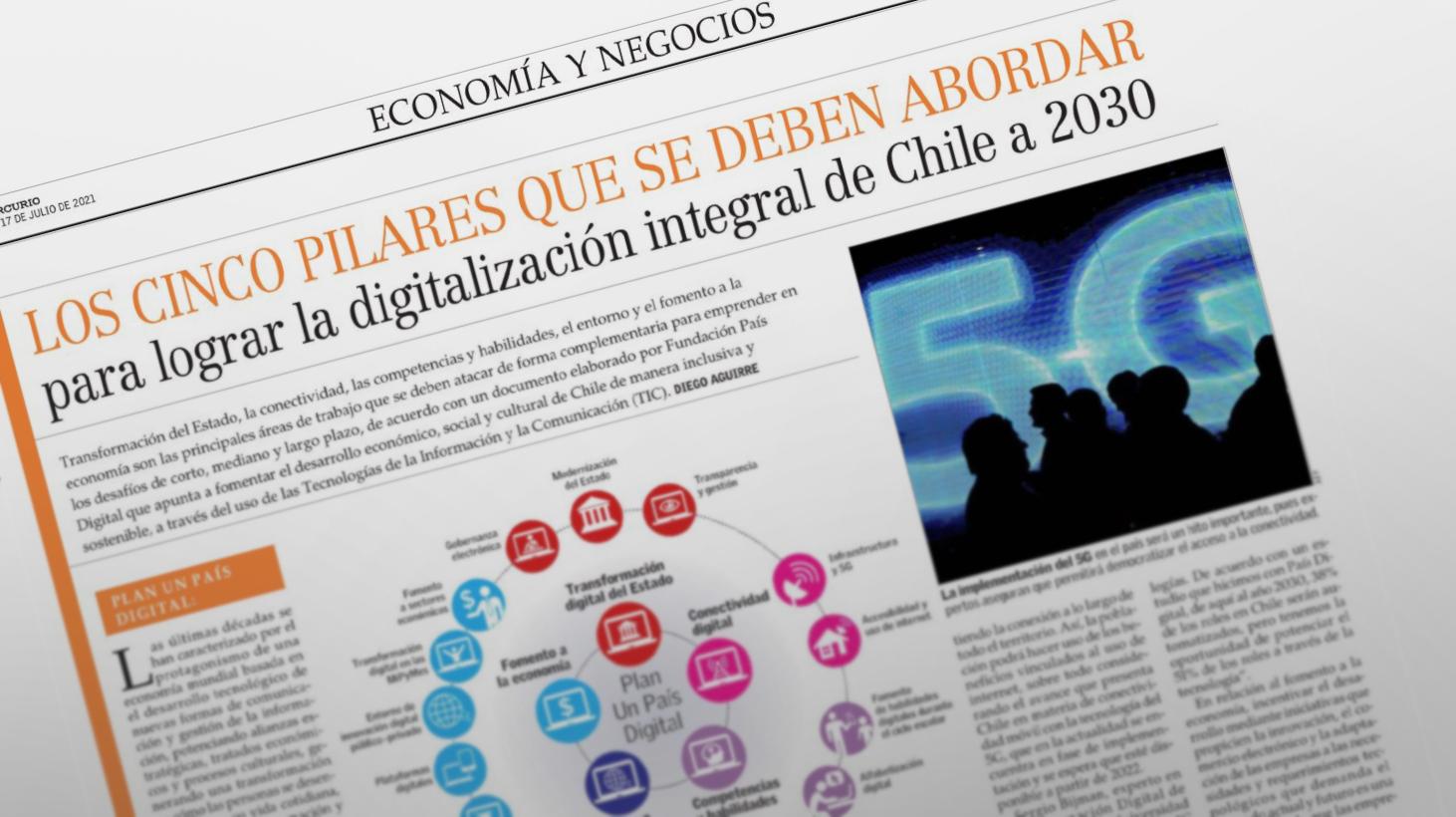 Plan Un País Digital: Cinco pilares que se deben abordar para la digitalización de Chile a 2030.