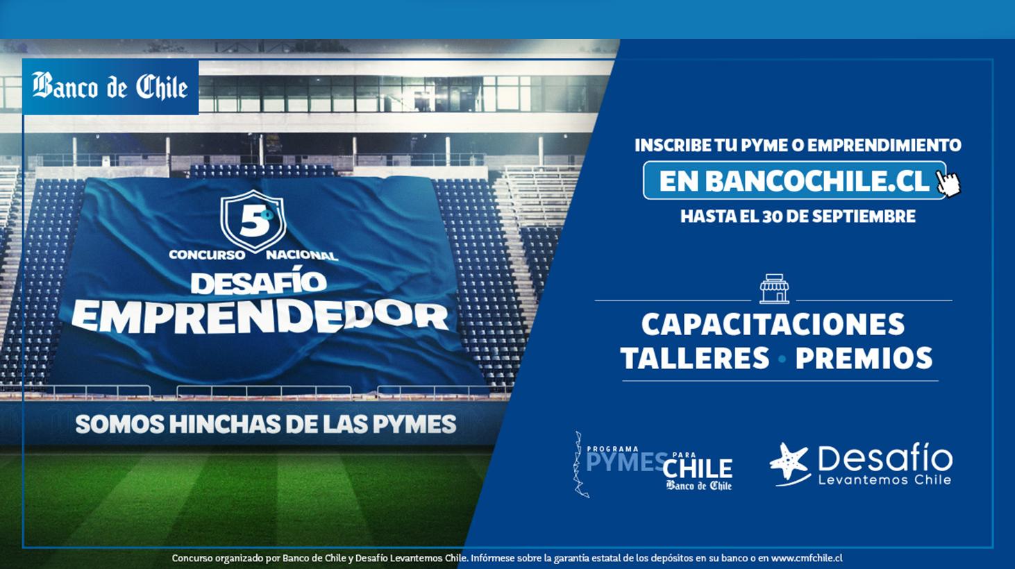 Banco de Chile y Desafío Levantemos Chile lanzan 5º Concurso Nacional Desafío Emprendedor.