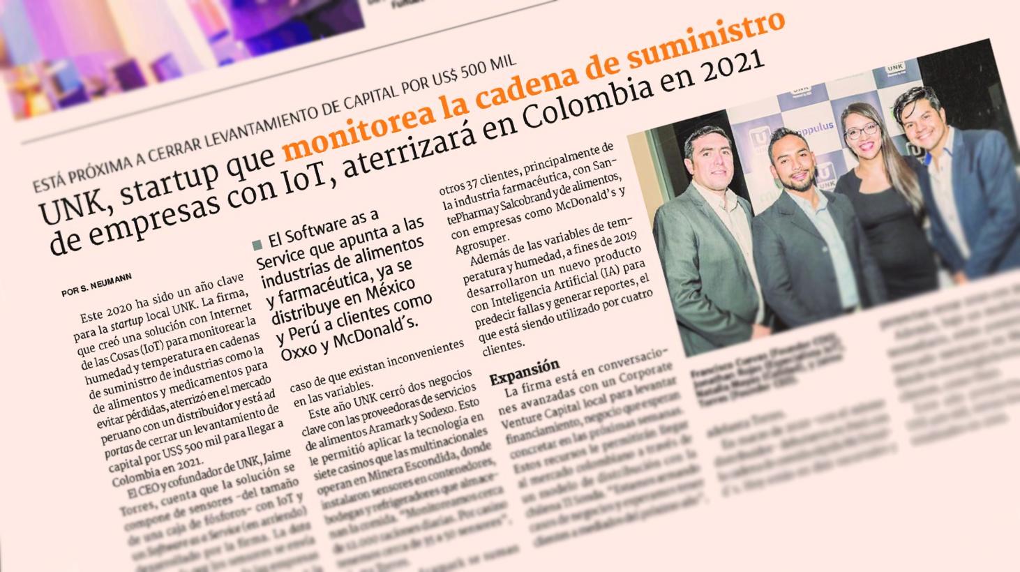 UNK, startup que monitorea la cadena de suministro de empresas con IoT, aterrizará en Colombia en 2021.